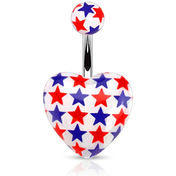 Surgical Steel Red & Blue Stars Heart Acrylic Belly Button Ring, Forbidden Body Jewelry