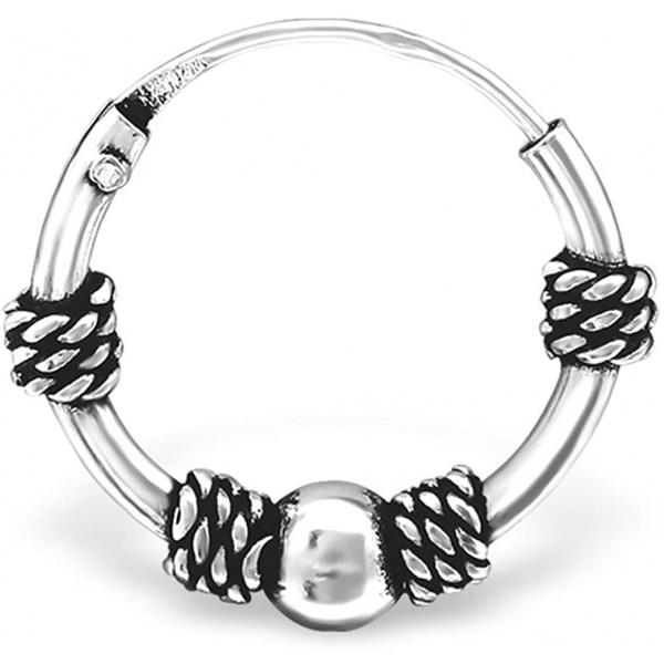 20G Hypoallergenic Sterling Silver Bali Cartilage Hoop Earring, Style 6, Forbidden Body Jewelry