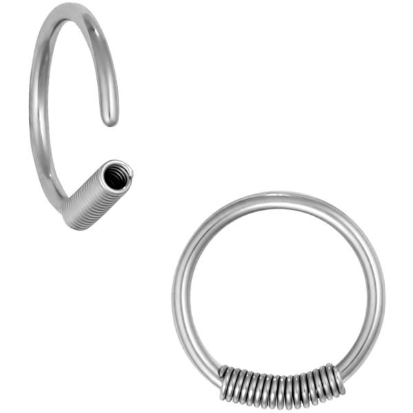 Pair of 2 Rings: 16g 10 mm (3/8 Inch) Surgical Steel Spring Hoop Rings, Forbidden Body Jewelry