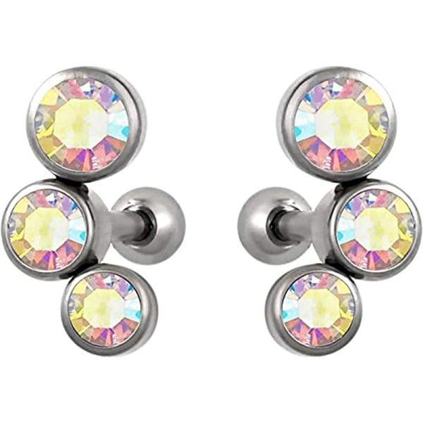 Set of Cartilage Stud Earrings: 16g 6mm Surgical Steel Triple Aurora Borealis CZ Crystal Earrings, Forbidden Body Jewelry