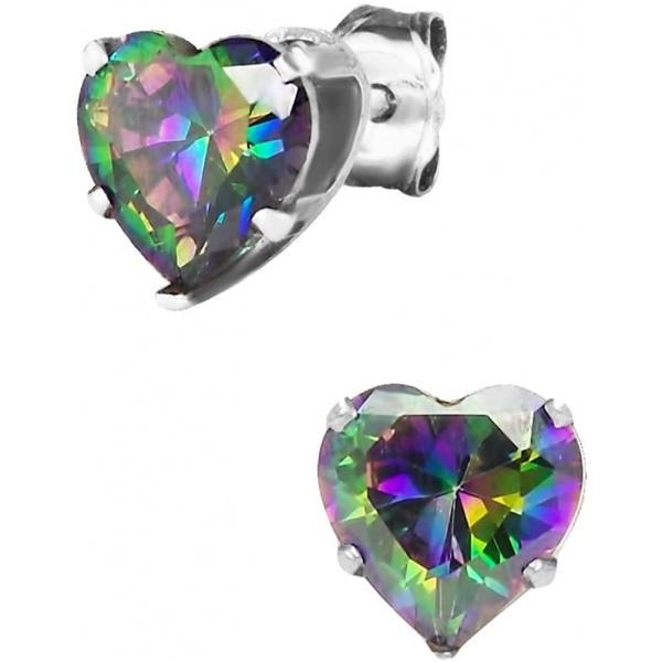 1.5 Carat .925 Sterling Silver Simulated Diamond Deep Set Rainbow Topaz CZ Heart Stud Earrings, Forbidden Body Jewelry