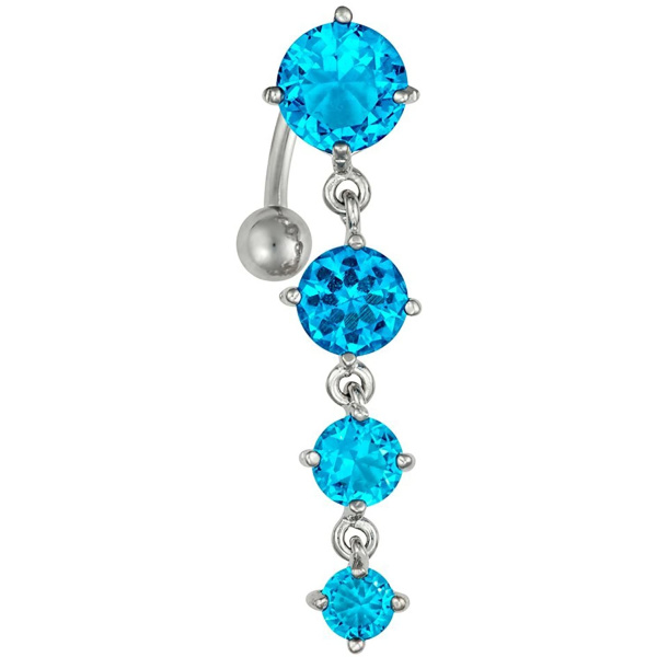 Sexy Reverse Mount Dangle Belly Button Ring with Cascade of Aqua Blue Crystal Gems, Forbidden Body Jewelry