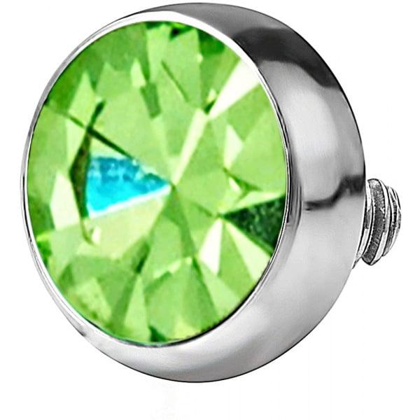 14g 316L Internally Threaded Ultra Thin Flat Disc Light Green 4.4 mm Gem Top for Dermal Piercing, Forbidden Body Jewelry