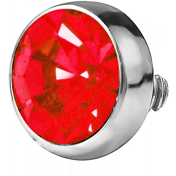 14g 316L Internally Threaded Ultra Thin Flat Disc Red 4.4 mm Gem Top for Dermal Piercing, Forbidden Body Jewelry