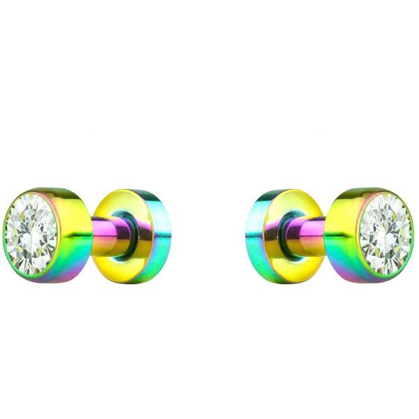 2pcs 8G-7/8 Surgical Steel Screw Fit CZ Center Rainbow Tunnel Plug Earrings, Forbidden Body Jewelry