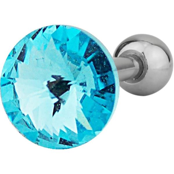 16g Surgical Steel 1/4″ Cartilage Piercing Aqua Blue Crystal Stud Barbell, Forbidden Body Jewelry