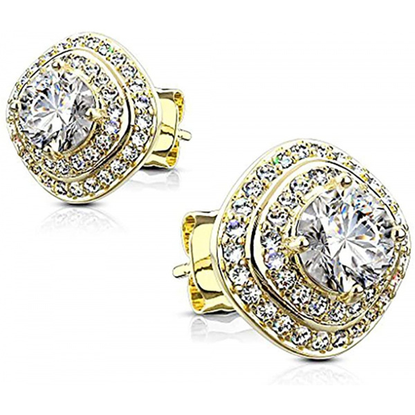 .925 Sterling Silver Square Halo Cushion Cut CZ Crystal Stud Earrings, Forbidden Body Jewelry
