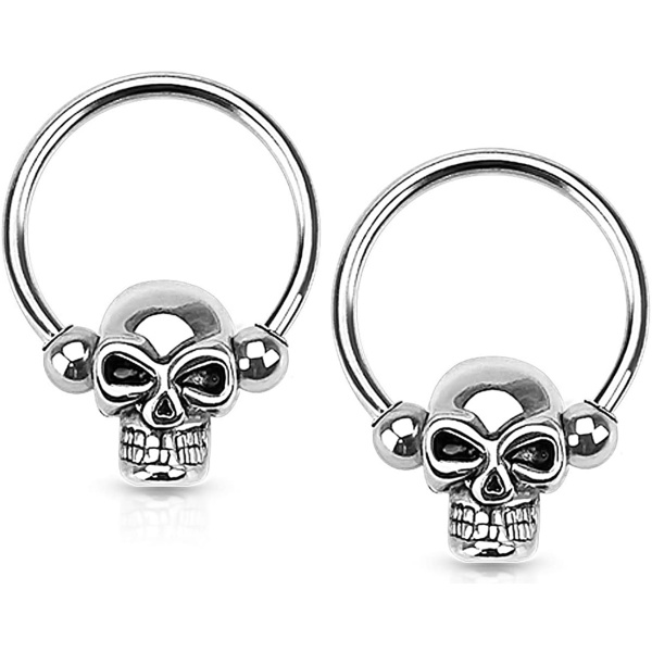 Set of 14G-16G Surgical Steel Skull CBR Hoops for Ear Lobes/Cartilage/Nipples, Forbidden Body Jewelry
