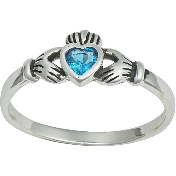 Kinzie Fashion .925 Sterling Silver Aqua CZ .25 cttw Simulated Diamond Claddagh Ring, Forbidden Body Jewelry
