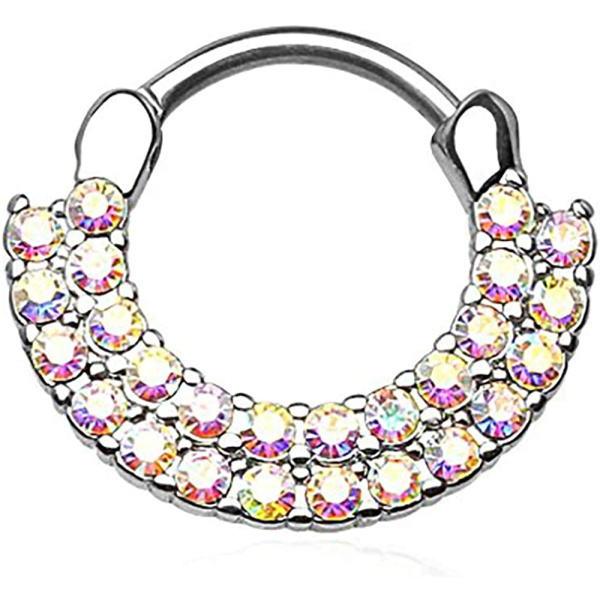 16g 8mm Surgical Steel Double Lined CZ Clicker Hoop (Aurora Borealis), Forbidden Body Jewelry