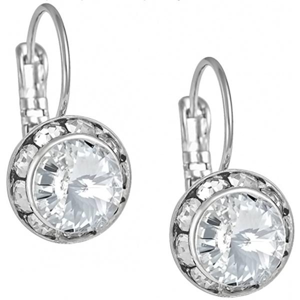Austrian Crystal Silver Tone Framed Clear Crystal Lever Back Earrings for Women, Forbidden Body Jewelry