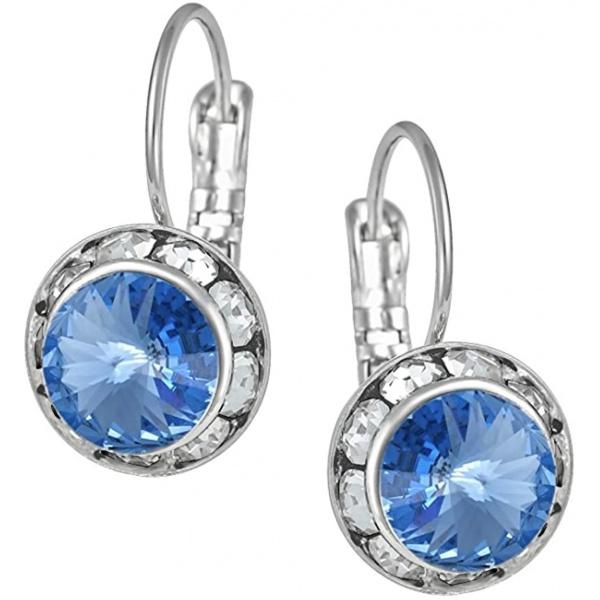 Austrian Crystal Silver Tone Framed Light Blue Lever Back Earrings for Women, Forbidden Body Jewelry