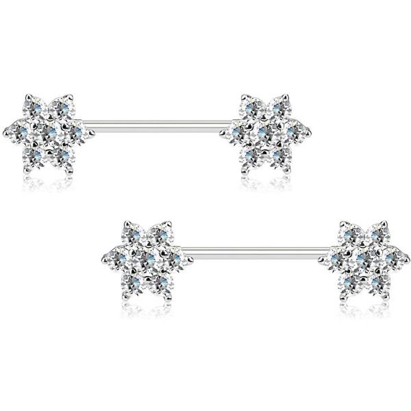 Pair of Surgical Steel 5/8 Inch (16mm) 7-CZ Posh Flower Nipple Barbells, Forbidden Body Jewelry