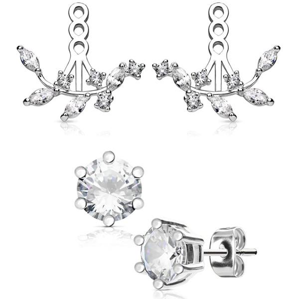 Surgical Steel Fancy Glam Ear Jacket Set with 5mm CZ Stud Earrings (Choose Style), Forbidden Body Jewelry