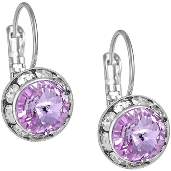 Austrian Crystal Silver Tone Framed Violet Lever Back Earrings for Women, Forbidden Body Jewelry