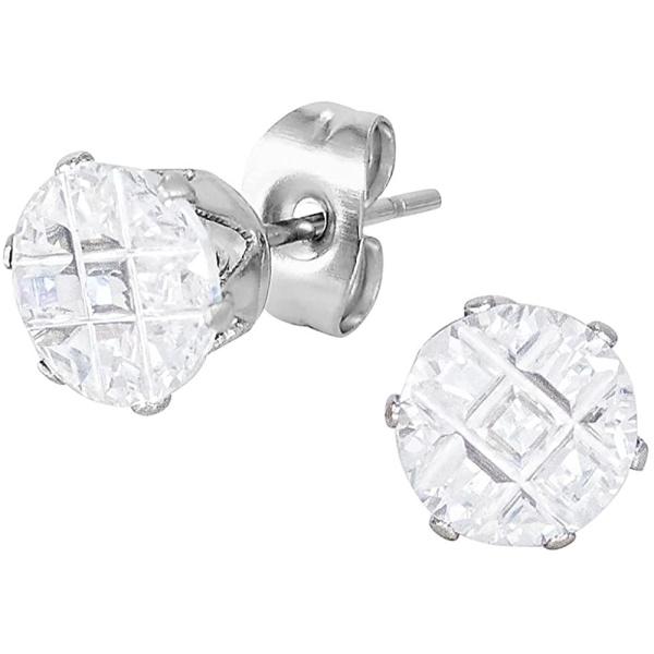Stainless Steel Cross Cut Crystal Medium Sized Round Stud Earrings for Men, Forbidden Body Jewelry