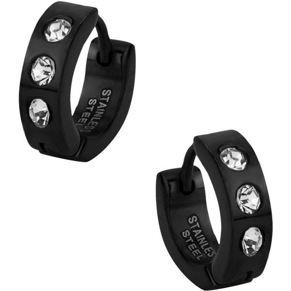 Stainless Steel Black IP Plated CZ Crystal Studded Huggie Hoop Earrings for Men, Forbidden Body Jewelry
