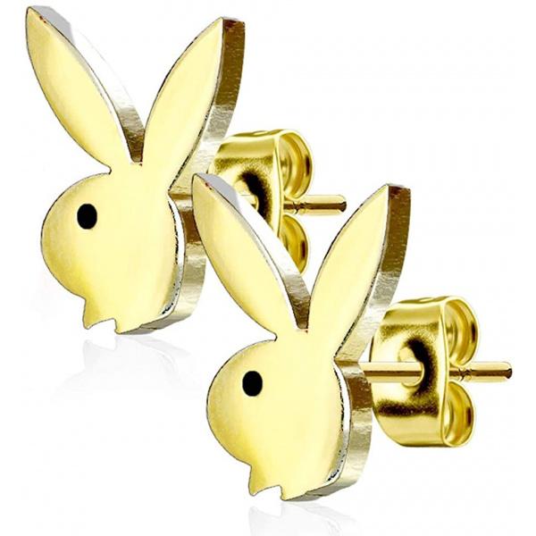 316L Surgical Steel Playboy Bunny Stud Earrings, Forbidden Body Jewelry