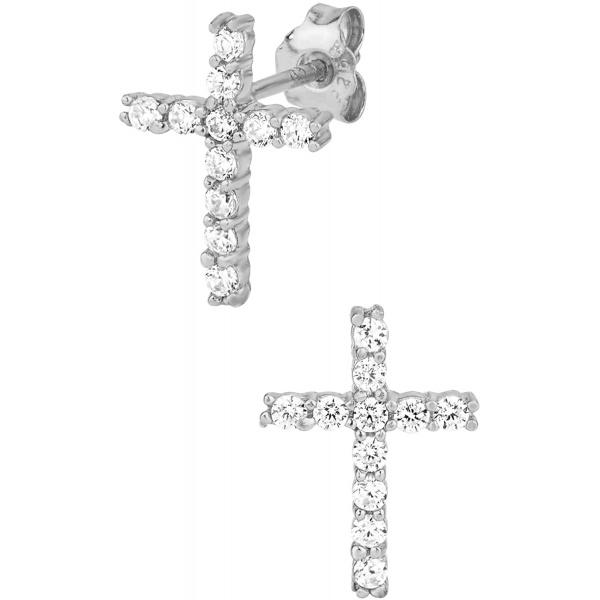 .925 Sterling Silver Channel Set Cubic Zirconia Studded Cross Earrings, Forbidden Body Jewelry