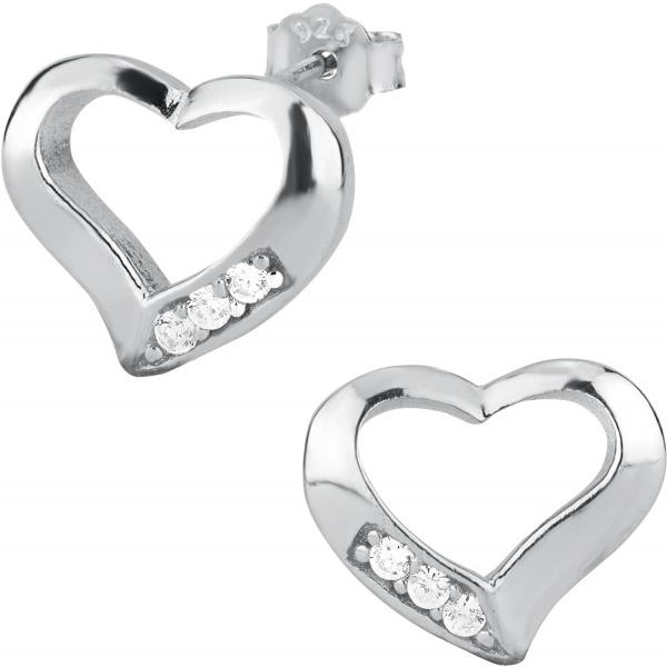.925 Sterling Silver Cubic Zirconia Open Heart Stud Earrings, Forbidden Body Jewelry