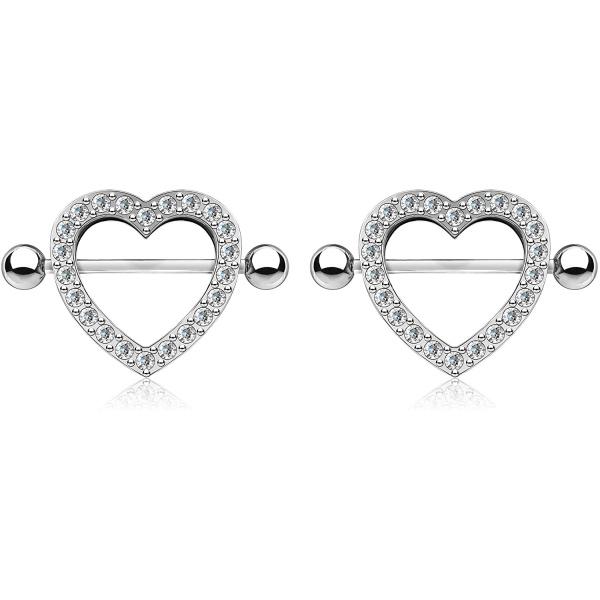 Surgical Steel CZ Crystal Heart Nipple Shield Barbells, Forbidden Body Jewelry