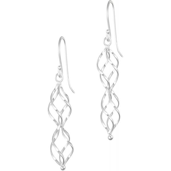 .925 Sterling Silver 1.6″ Elegant Swirl Dangle Earrings for Women, Hypoallergenic, Forbidden Body Jewelry