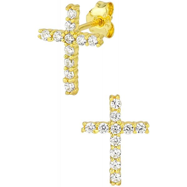 14k Gold Plated Sterling Silver Channel Set CZ Cross Stud Earrings, Forbidden Body Jewelry