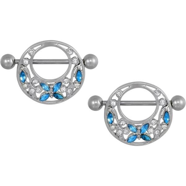 Pair of 14g 22mm (7/8 Inch) Surgical Steel Light Blue CZ Butterfly & Flower Vine Nipple Shield Barbells, Forbidden Body Jewelry