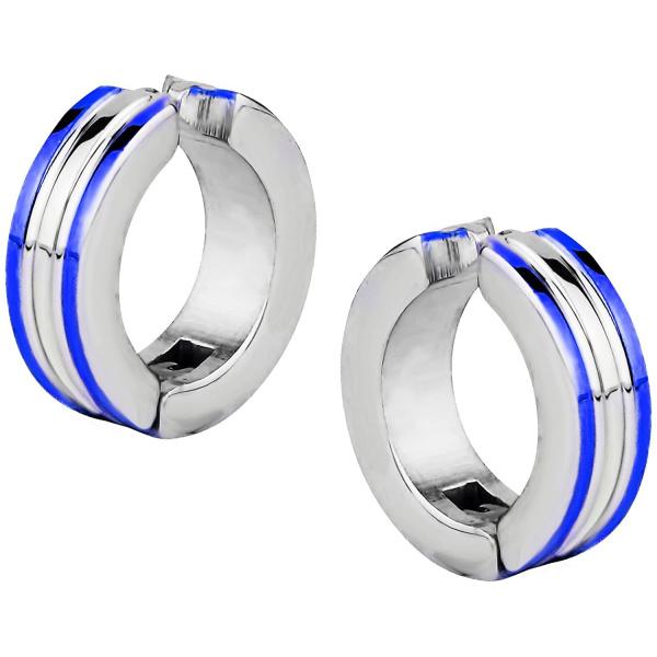 Stainless Steel Two Tone Blue IP Plated Clip On Huggie Hoop Earrings, Forbidden Body Jewelry