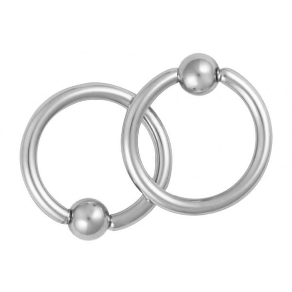 Pair of Captive Bead Nipple Rings, Forbidden Body Jewelry