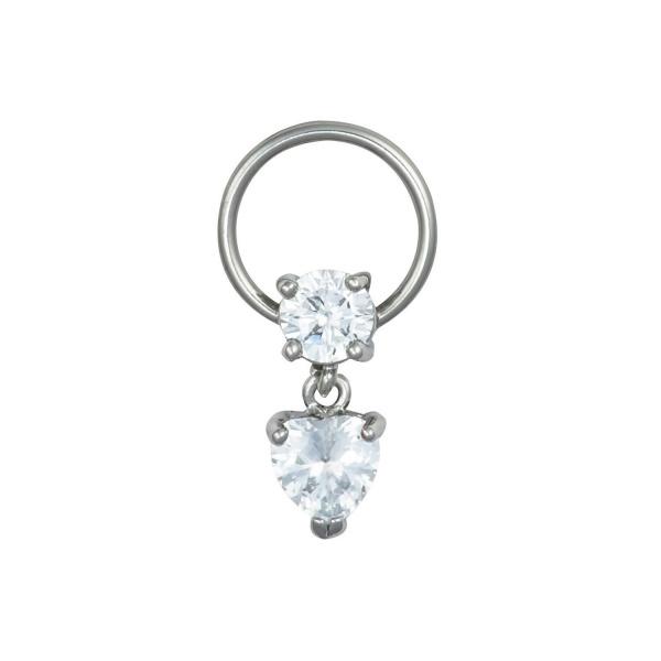 Clear Heart Dangle Cartilage Hoop, Forbidden Body Jewelry