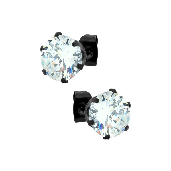 Clear Gem Black Stud Earrings, Forbidden Body Jewelry