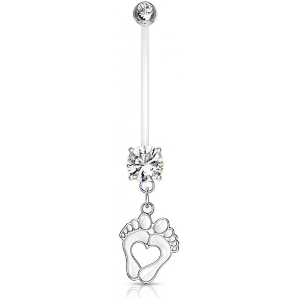 14G 1″ Pregnancy Bioflex Adjustable & Flexible Dangle Baby Feet CZ Maternity Belly Button Ring, Forbidden Body Jewelry