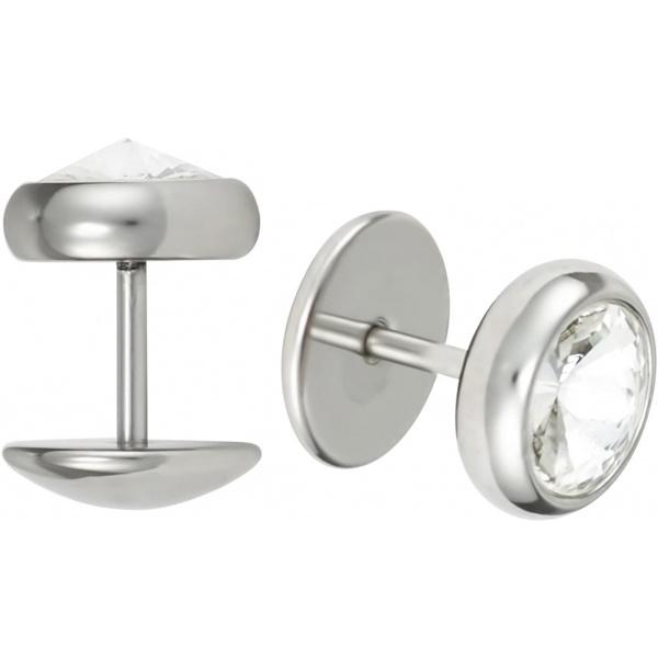 16g 10mm Surgical Steel Crystal Cheater Plug Earrings, Fake 00 Gauge Earrings, Forbidden Body Jewelry
