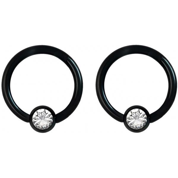 Pair 14g-18g Rainbow & Black Surgical Steel CZ Piercing Hoops (Select Hoop Color/Gauge/Diameter/CZ Color), Forbidden Body Jewelry