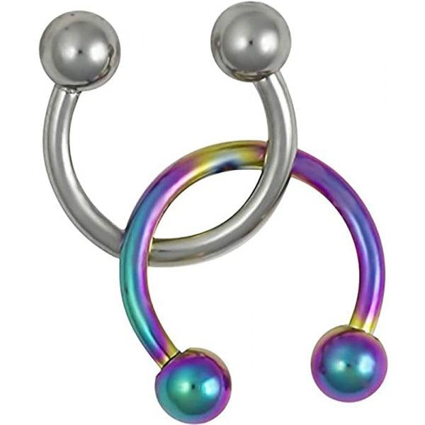 16g Septum Rings Set of 2: 16 Gauge 8mm Surgical Steel & Rainbow Horseshoe Rings, Forbidden Body Jewelry