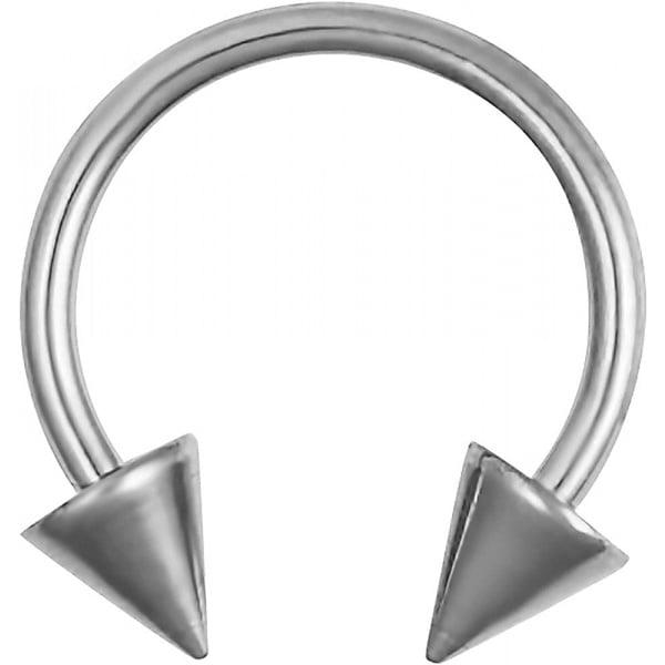 16g Septum Ring – 16 Gauge 3/8″ G23 Titanium Spike Horseshoe Septum Ring, Forbidden Body Jewelry