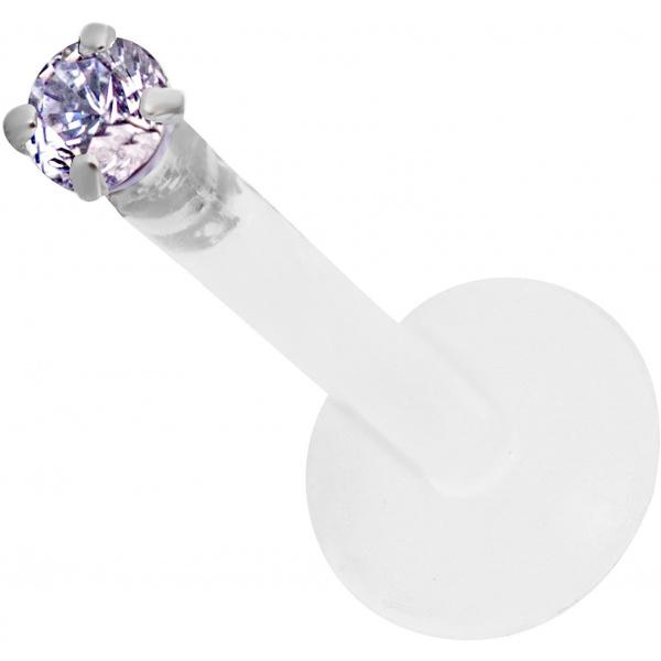16g 10mm BioFlex Tragus Earring, Helix Earring and Labret Piercing Stud, 2mm Violet Purple CZ Crystal, Forbidden Body Jewelry