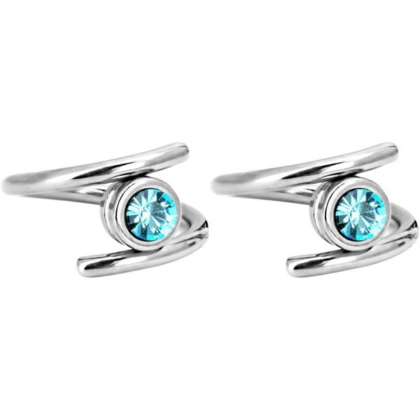 Pair of 2 Unique Twist Piercing Rings: 14g 7/16 Inch Surgical Steel Aqua Blue CZ Twist Hoop Rings, Forbidden Body Jewelry