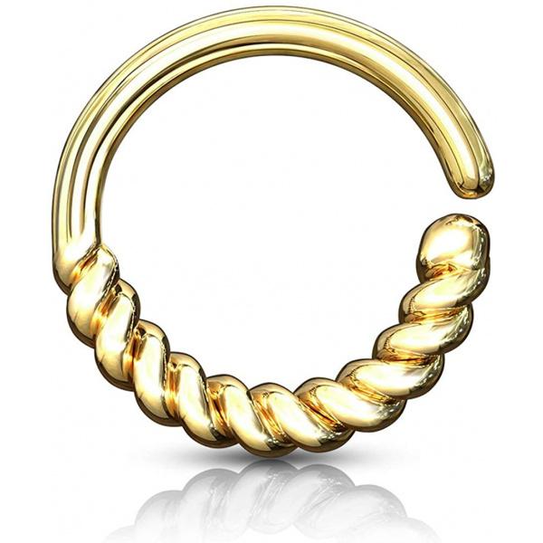 16g Platinum & Gold Plated Half Braid Bendable Septum/Daith/Cartilage Hoop, Forbidden Body Jewelry