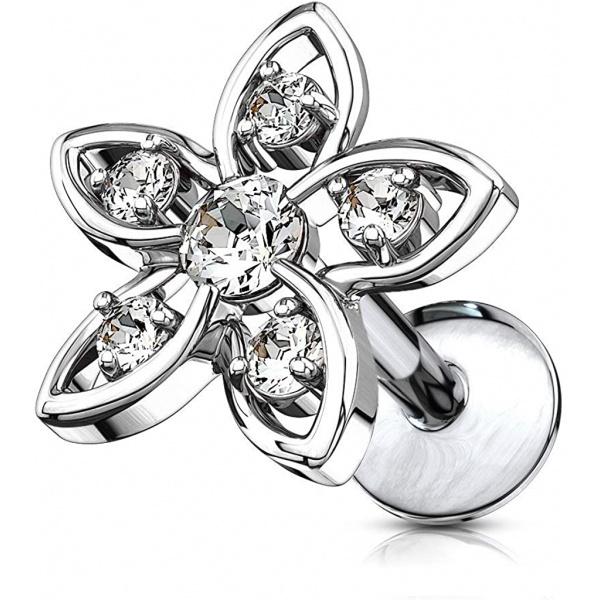16g Internally Threaded Surgical Steel CZ Flower Top Cartilage Stud (Choose Length), Forbidden Body Jewelry