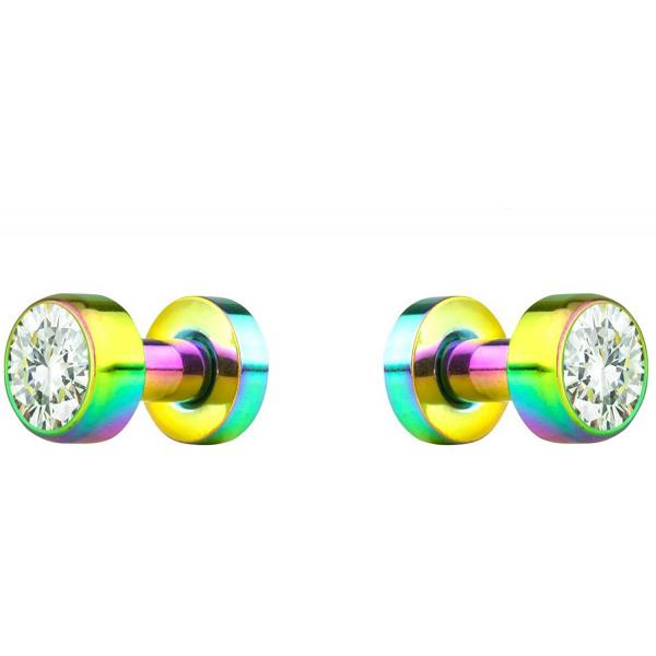 2pcs 8G-7/8″ Surgical Steel Screw Fit CZ Center Rainbow Tunnel Plug Earrings, Forbidden Body Jewelry