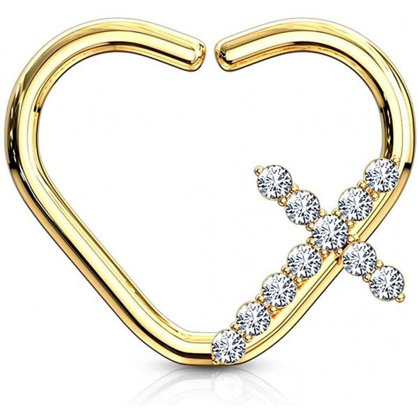 16g Platinum & Gold Plated Heart w/ CZ Cross Daith & Cartilage Hoop Earring, Forbidden Body Jewelry