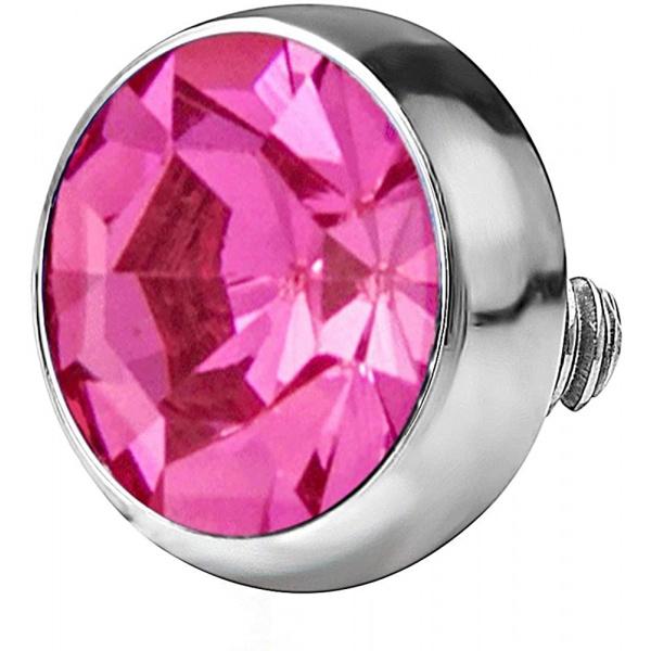14g 316L Internally Threaded Ultra Thin Flat Disc Pink 4.4 mm Gem Top for Dermal Piercing, Forbidden Body Jewelry