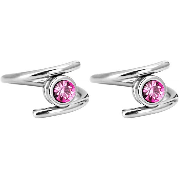Pair of 2 Unique Twist Piercing Rings: 14g 7/16 Inch Surgical Steel Pink CZ Twist Hoop Rings, Forbidden Body Jewelry