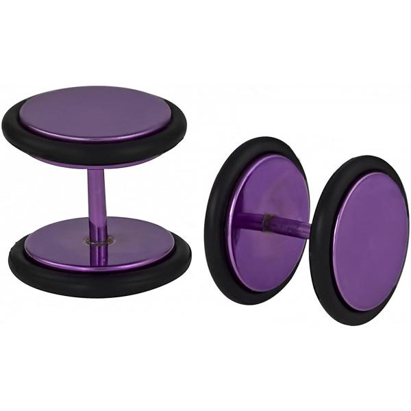 16g 10mm Titanium IP Purple Surgical Steel Cheater Plug Earrings, Fake 00 Gauge Earrings, Forbidden Body Jewelry