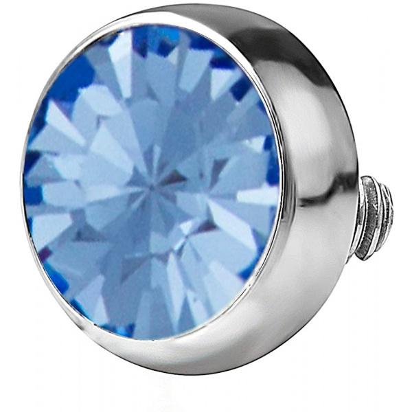 14g 316L Internally Threaded Ultra Thin Flat Disc Light Blue 4.4 mm Gem Top for Dermal Piercing, Forbidden Body Jewelry