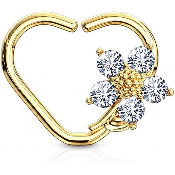 16g Platinum & Gold Plated Heart w/ CZ Flower Daith & Cartilage Hoop Earring, Forbidden Body Jewelry