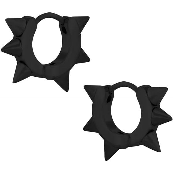 Stainless Steel IP Plated Black Spiked Huggie Hoop Earrings for Men, Forbidden Body Jewelry