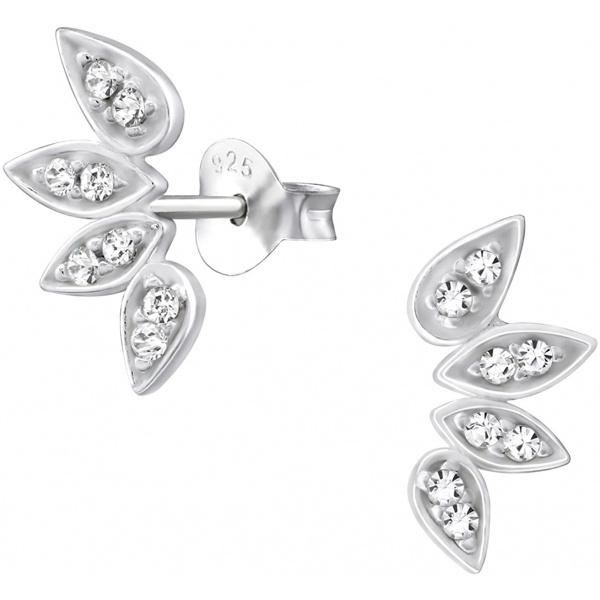 .925 Sterling Silver CZ Leaf Stud Earrings, Forbidden Body Jewelry